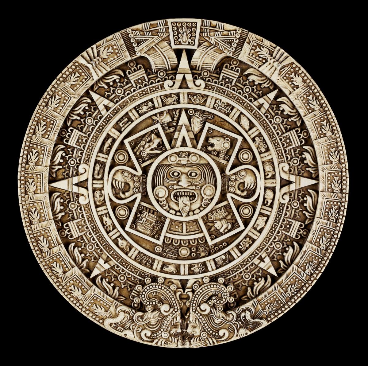 wandrelief azteken kalender rund wand deko