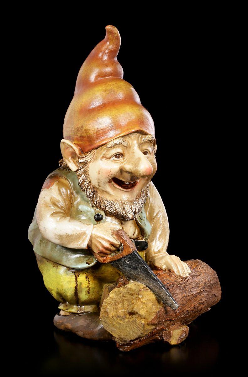nain figurine de jardin - Gnome Heinz en train scie - FANTASIE ...